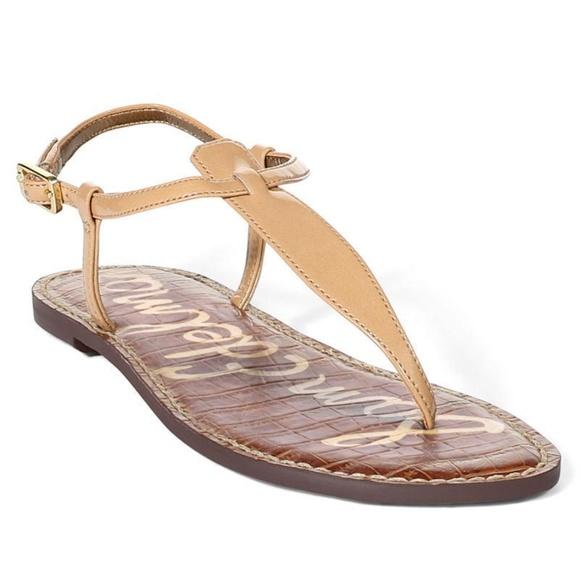 b72484c530e635 Sam Edelman Gigi Nude Faux Patent Leather T-Strap